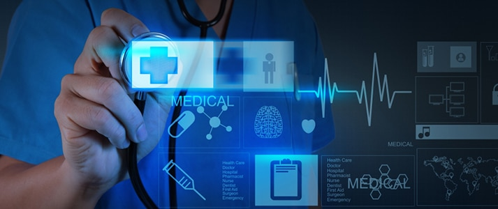 Medicine doctor pushing on first aid sign with modern computer interface