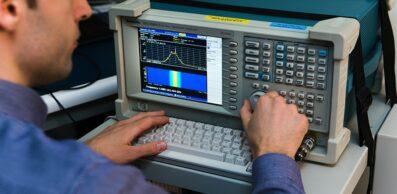 person using a spectrum analyzer
